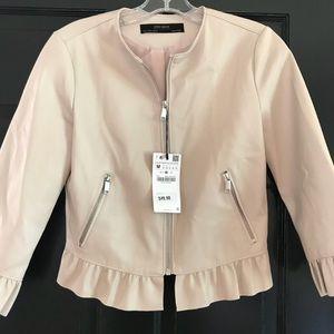 068b6857 Zara Jackets & Coats   Ruffle 34 Leather Jacket From Basic   Poshmark