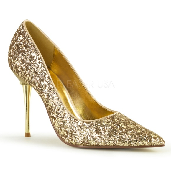 16d4201d94d0 Steel Stiletto High Heel Pointy Toe Glitter Gold