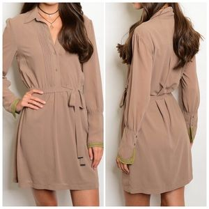 Mocha Long sleeve chiffon tunic dress