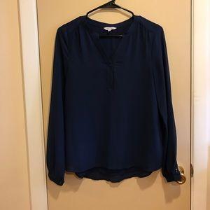 Navy long sleeve blouse.