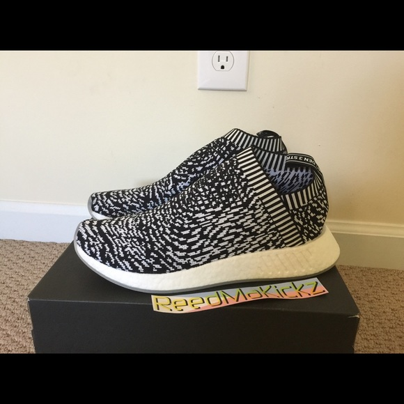 adidas nmd r1 black and white mens
