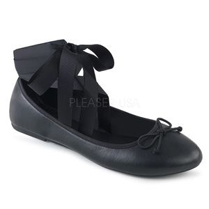 Shoes - Round Toe Mary Jane Ballet Flats Ankle Wrap Black