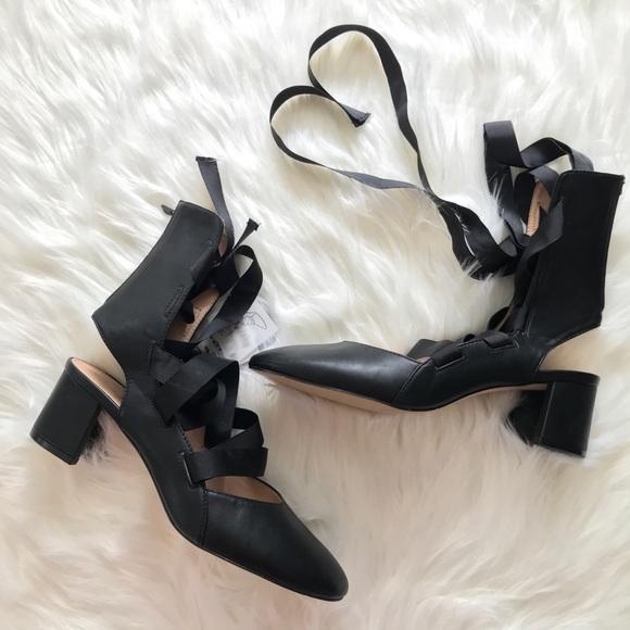 a440e12c489 Zara Ballerina Lace Up Tie Black Block Heel Ballet