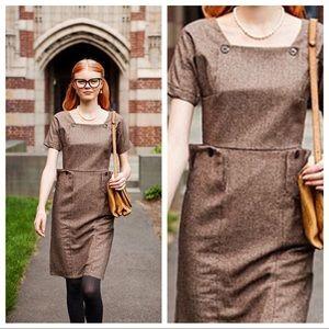 Shabby Apple Brown Wool-Blend Study Hall Dress