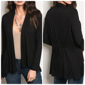 Tops - Black Long sleeve light weight jersey cardigan