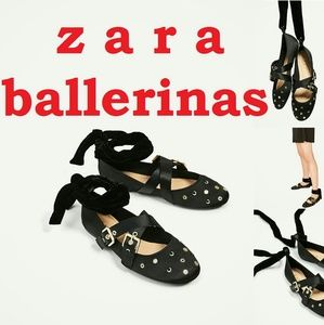 ZARA Gold Studs Bow Black Ballerinas