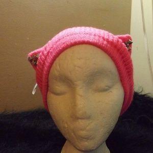 neon pink studded kitty cat ear head wrap ear muff