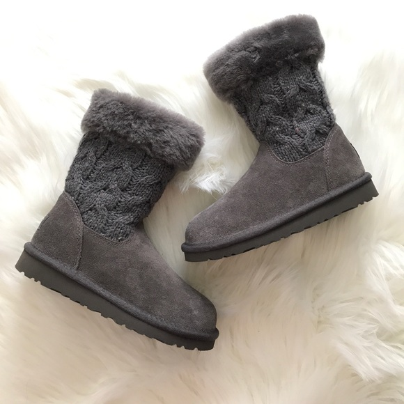 UGG Boots Girls Grey Knit 13 New Pull On
