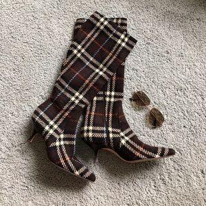 BURBERRY brown haymarket print heel boots s8.5M