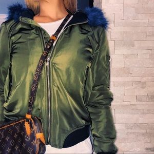 Jackets & Blazers - Blue faux fur olive green bomber jacket small