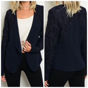 Navy blazer with crochet detailed sleeves & collar