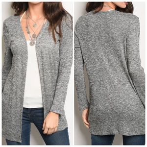 Sweaters - Charcoal Long sleeve light weight knit cardigan