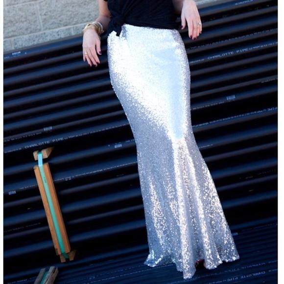f630eb295 Skirts   Silver Long Sequin Maxi Skirt   Poshmark