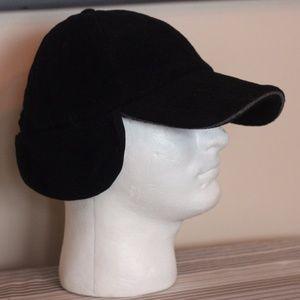 Other - Winter Fleece Black baseball cap with ear flaps