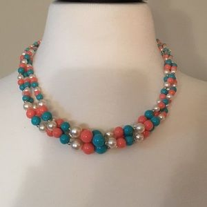 Jewelry - Vintage turquoise and coral beaded necklace
