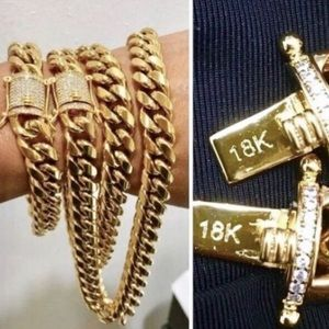 18k gold over stainless Miami Cuban Chain+Bracelet