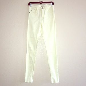 ASOS Pastel Yellow High Waist Cigarette Jeans