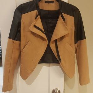 Cropped style wool moto jacket