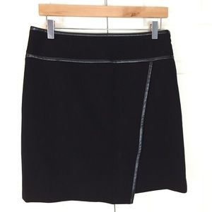 FinalPrice WHBM Faux Leather Trim Ponte Knit Skirt