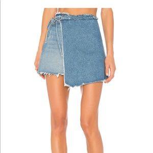 REVOLVE GRLFRND Reconstructed Denim Wrap Skirt