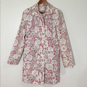 LOFT Floral Cotton Trench Coat Jacket