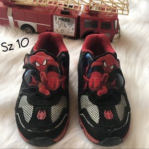Toddler Boy's Light Up Spiderman Sneakers Sz 10