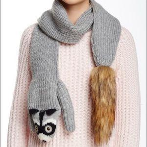 NWOT! Kate Spade Raccoon Scarf Fur Plush Animal
