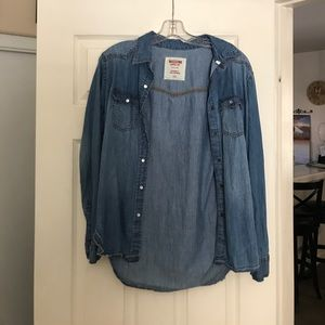 Jean button up long sleeve top