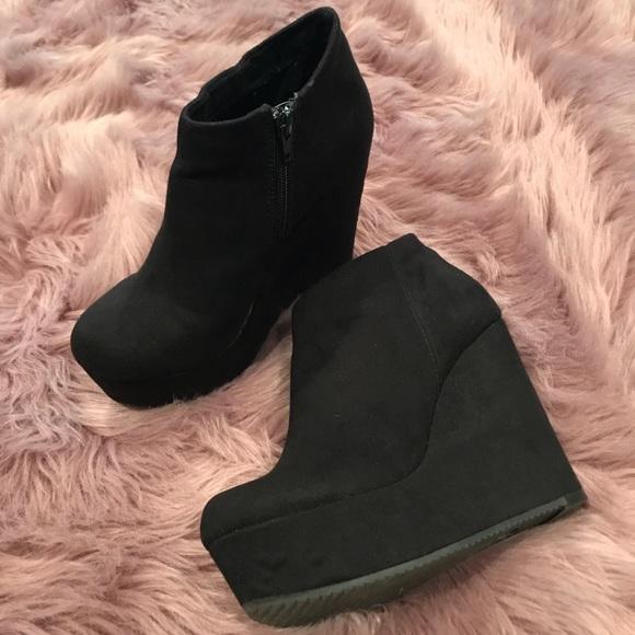 e055cef19e1a9 Aldo Shoes | Black Suede Wedge Ankle Boots | Poshmark
