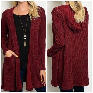 Wine Black Long sleeve open front knit cardigan