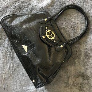 IMAN Doctor Satchel Croc Black Bag