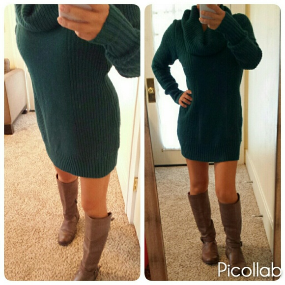7448c553daac H M Sweaters - Teal Forest Green Chunky Knit Cowl Sweater Dress