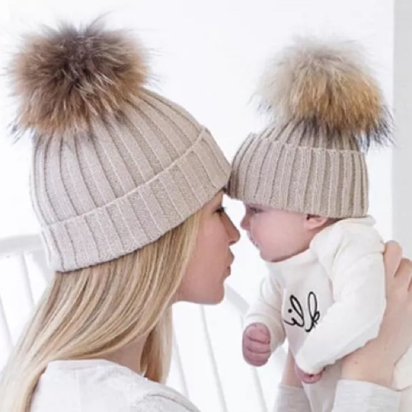 7fa3feb1d39 Matching mom and baby pom pom hats!