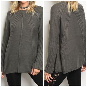 Sweaters - Charcoal Long Sleeve Knit Sweater