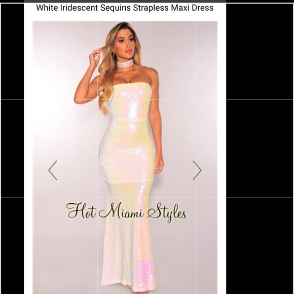cda0bfdf211 Gorgeous white strapless sequin Maxi gown