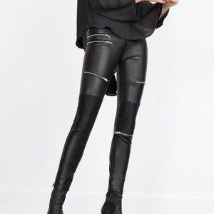 Denim - Zara leather zipper pants