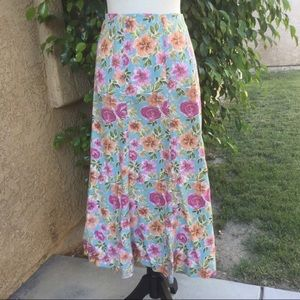Christopher & Banks Floral Long Maxi Skirt EUC 8