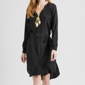 NWOT Black Silk Shirtdress
