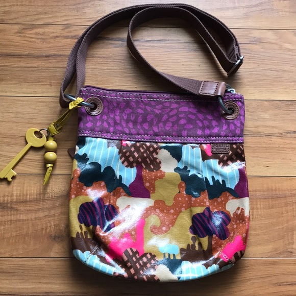 75e1fa454 Fossil Handbags - Fossil Key-Per Printed Coated Canvas Crossbody Bag