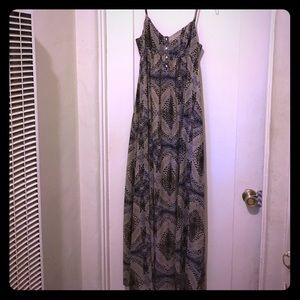 Printed Maxi dress with button front