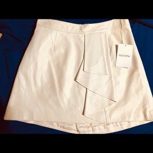NWT Stunner Valentino Cream Ruffle Leather Skirt 6