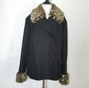 INC Double Breasted Wool Coat With Faux Fur