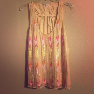 Trina Turk silk Sequin Top Size medium