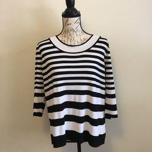 Emma James Woman 2X Black & White Stripe Sweater