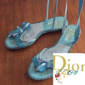 Dior Turquoise Sandals with Ribbon Ties Size 7.5M