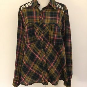 Free people oversized plaid snap button up shirt