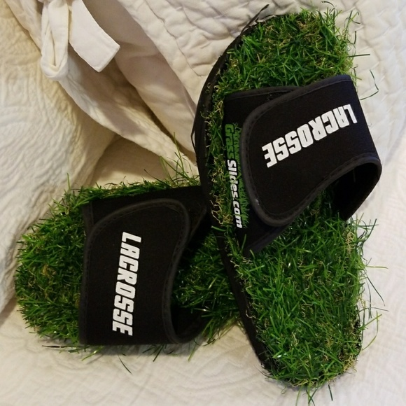 Lacrosse Grass Slides shoes are made from real turf