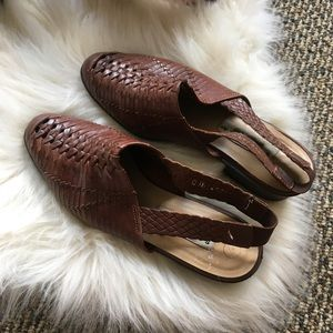 woven leather mule sling backs
