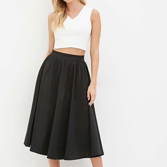 790e83567e Forever 21 Dresses & Skirts - Forever 21 black midi circle skirt flare size  XS