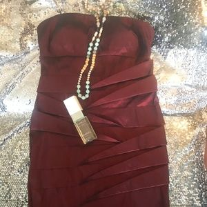 Simply Liliana strapless deep red dress